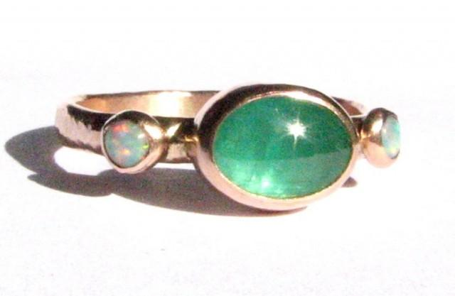 Natural Emerald & Opals Ring Solid 14k Rose Gold Ring Emerald Engagem