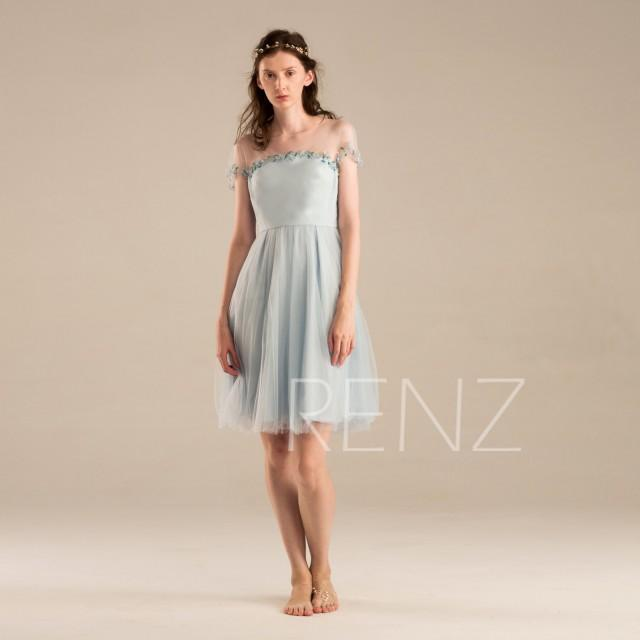 2015 baby blue bridesmaid dress steel blue prom dress