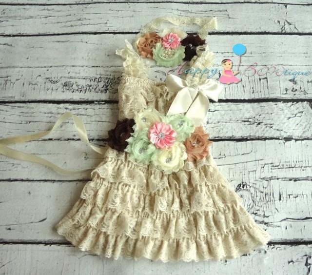 wedding photo - Flower girls dress- Champagne Lace Dress set, Girls dress, Birthday outfit, Rustic wedding dress, Country wedding, Junior Bridesmaid dress