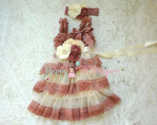 wedding photo - Embellished Champagne Rose Chiffon Lace Dress,Flower Girl Flowy dress,Girls Dress,baby dress,1st Birthday outfit, Rustic Dress,Country dress