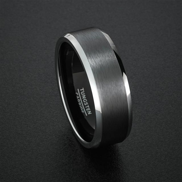 tungsten wedding band mens ring black tungsten rings brushed matte