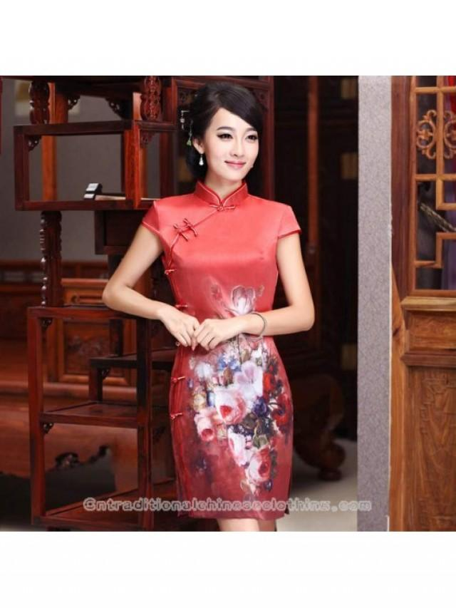 wedding photo - Eight button oil painting flower short modern qipao Chinese silk cheongsam red dress