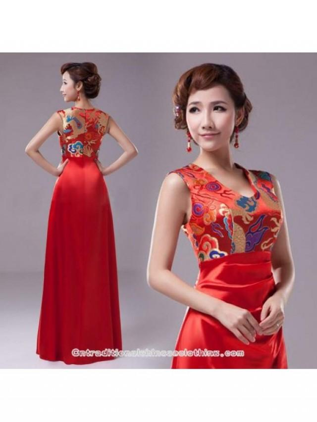 wedding photo - Dragon brocade floor length A-line evening gown red Chinese wedding dress