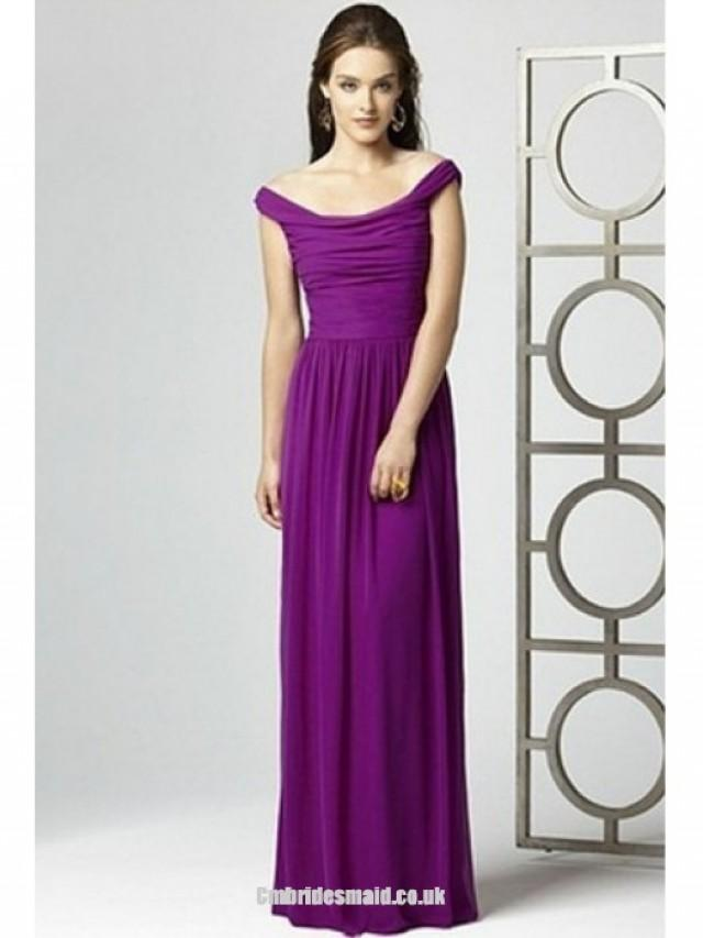 wedding photo - 2013 sweet bridesmaid dresses Chiffon Off-the-shoulder Sleeveless Uk Bridesmaid Dress