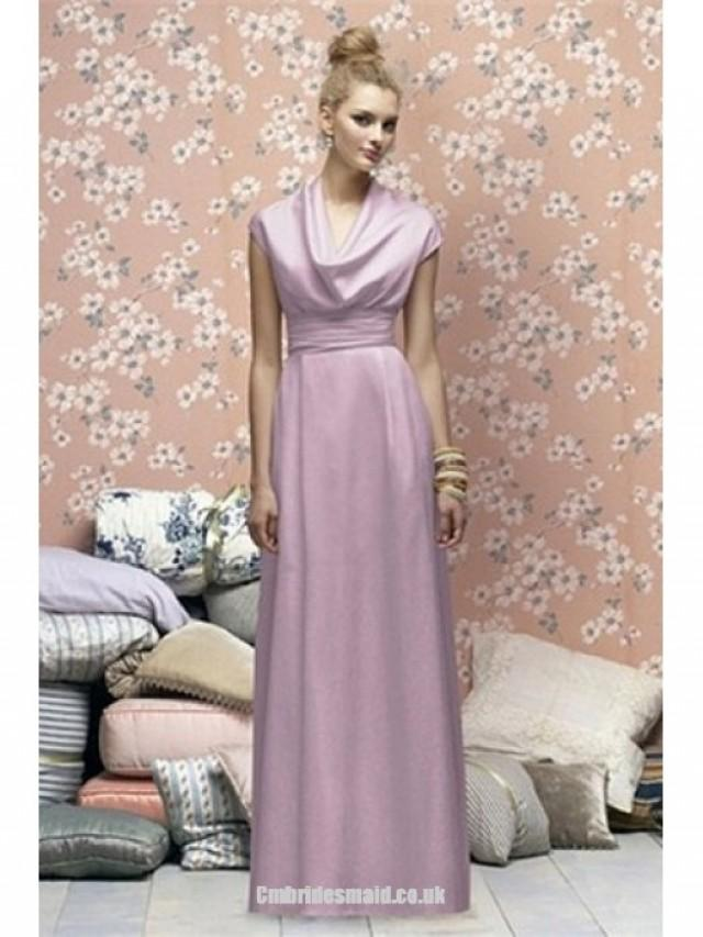 wedding photo - 2013 sweet bridesmaid dress Lilac Floor-Length Taffeta Scoop Fall Pear Uk Bridesmaid Dress