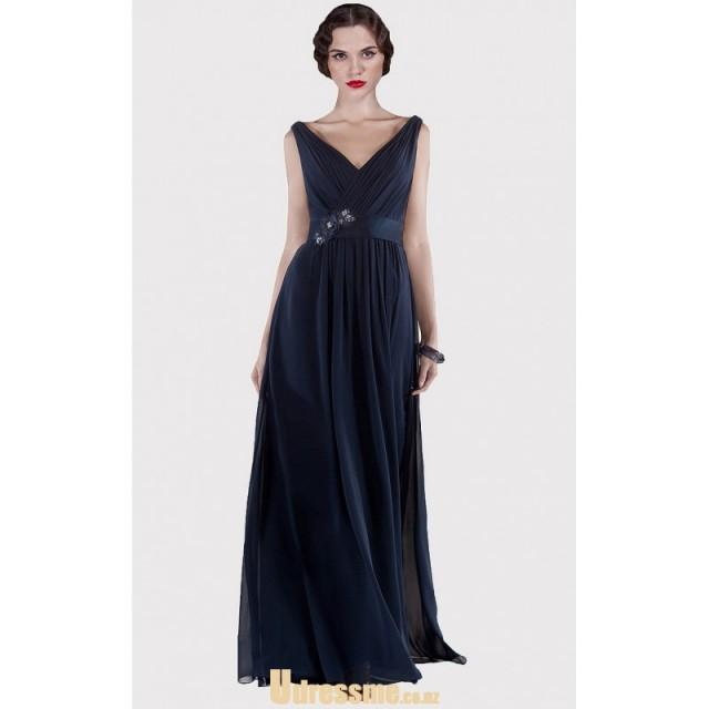 wedding photo - 2015 V Neck Pleated Long Chiffon Dark Navy Bridesmaid Dress with Flower Ribbon