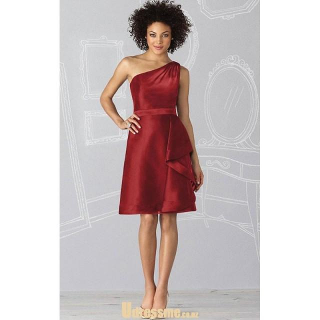 wedding photo - Elegant One Shoulder Burgundy Satin Knee Length Satin Bridesmaid Dress