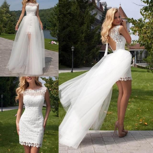 Short white lace overskirts wedding dresses with for Short wedding dress with removable train
