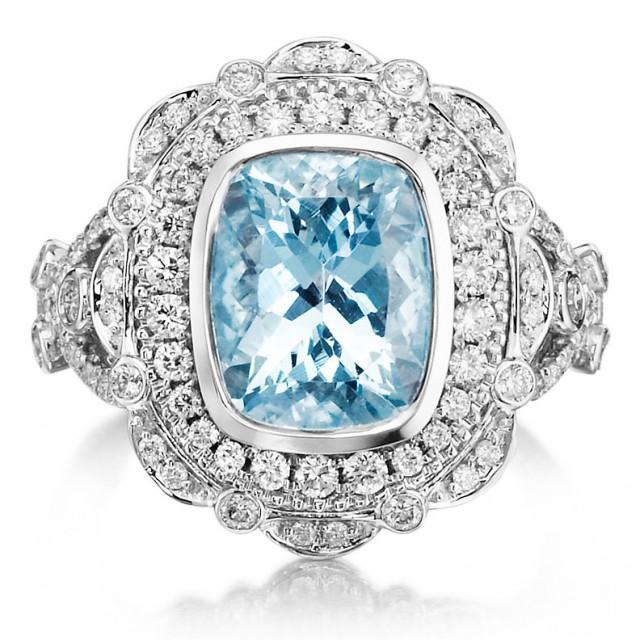 Aquamarine Engagement Ring 375tw 18k White Gold Amp Diamond