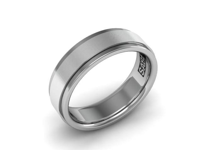Mens Wedding Band In Sterling Silver 7mm Brushed Center Smooth Edges Wedding