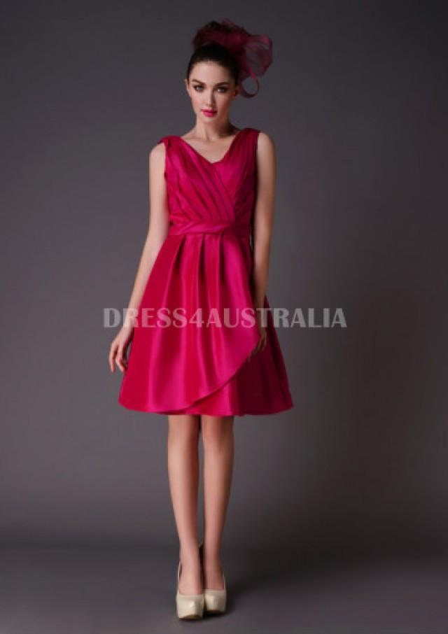 Buy australia a line v neck fuchsia satin knee length for V neck wedding dresses australia