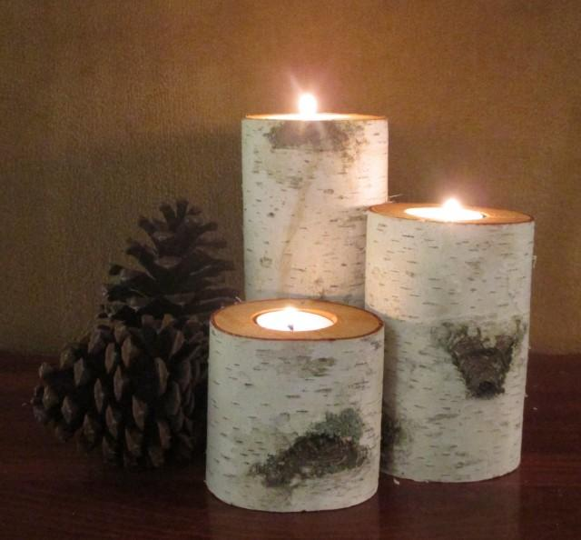 Home decor birch wood candle holders wedding decor - Candle centerpieces for home ...
