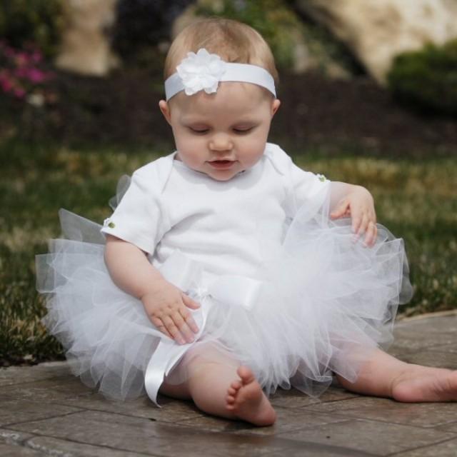 Flower girl dress tutu white baby tutu birthday tutus for for Baby wedding dresses newborn