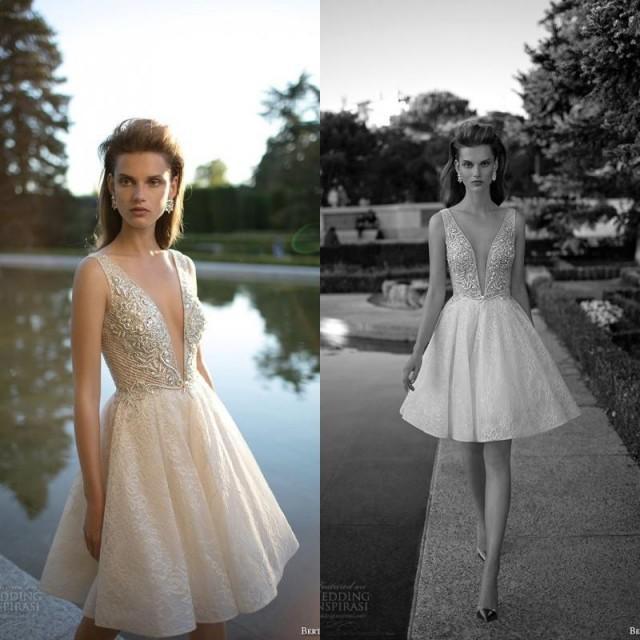 Berta short wedding dresses designer 2016 lace beading for Sexy designer wedding dresses