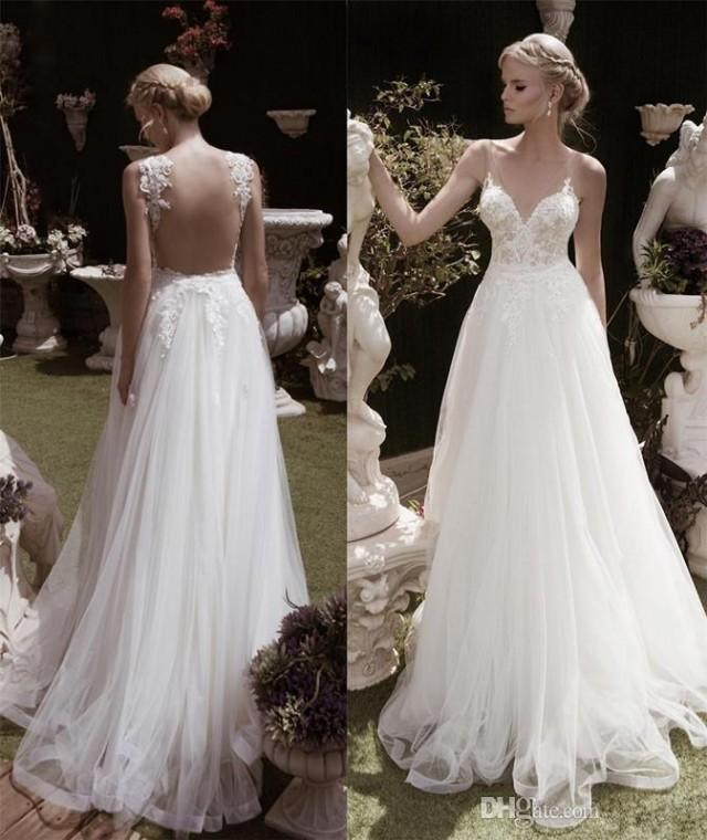 2016 new lace wedding dress with v neck a line sexy hollow for Plunge neck wedding dress