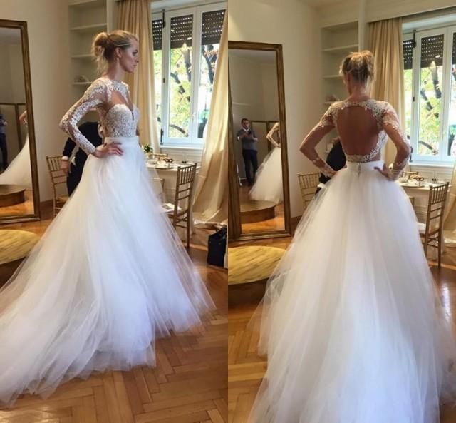 2016 plus size berta ball gown wedding dresses long for Backless wedding dresses with sleeves