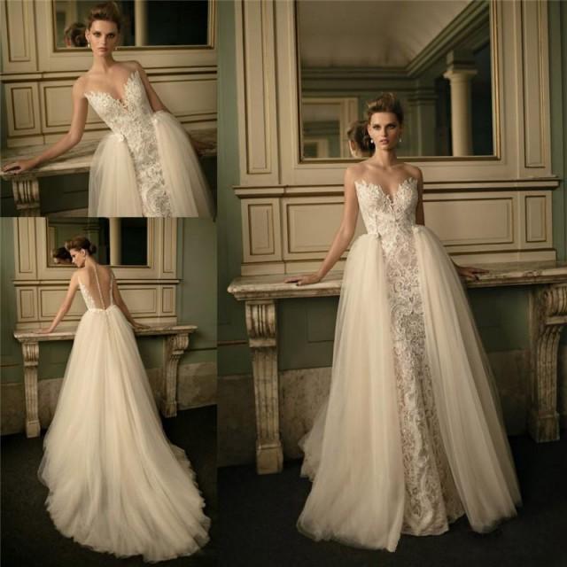 2016 berta bridal lace wedding dresses with removable for Wedding dress with removable train
