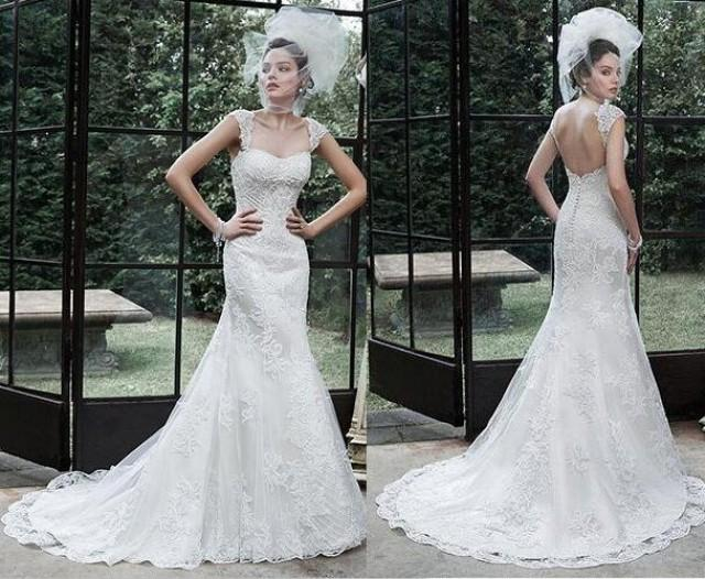 New 2016 backless wedding dresses applique beaded court for Backless wedding dresses online