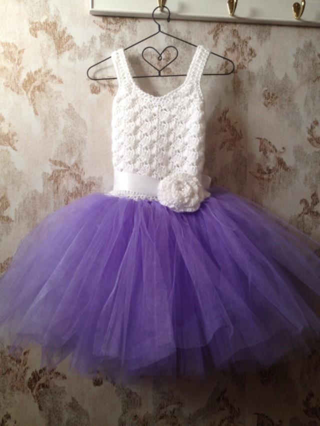 purple and white flower girl dress toddler dress crochet