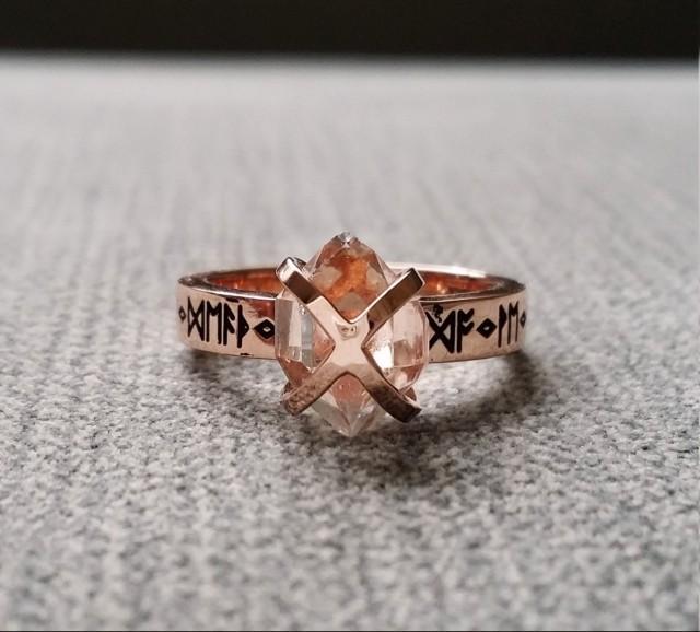 rustic herkimer diamond engagement ring nordic runes terminated quartz old world norse mythology viking 14k rose gold hammered the frigg 2442958 - Norse Wedding Rings