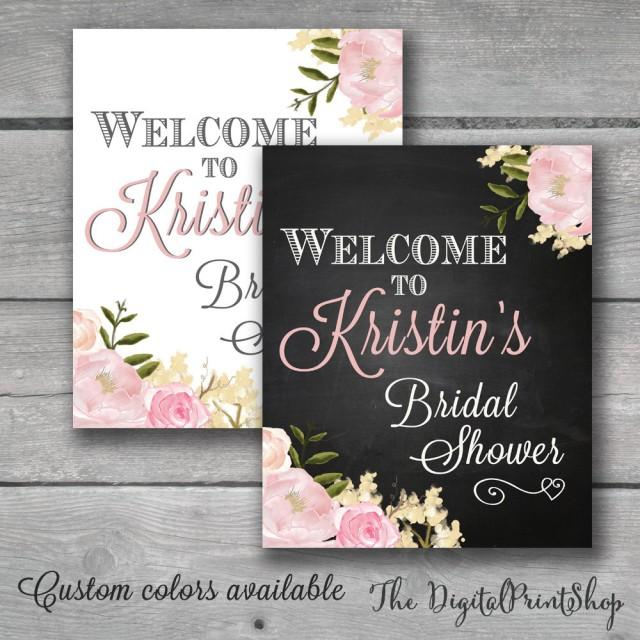 Welcome sign watercolor bridal shower rustic chic for How to decorate for a bridal shower at home