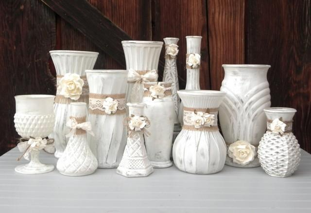 shabby chic burlap and lace cream white vase collection vases for wedding decor shower. Black Bedroom Furniture Sets. Home Design Ideas