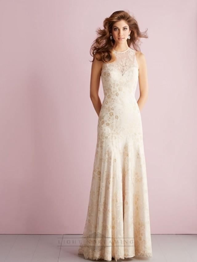 wedding photo - Sheer High Neckline Sheath Column Lace Appliques Keyhole Back Wedding Dress