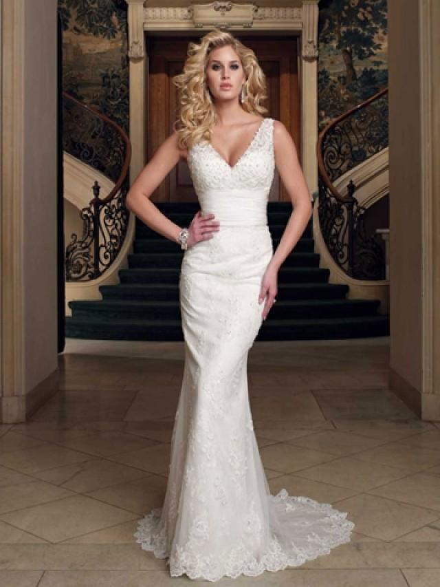 wedding photo - Plunging V-neck Sleeveless Sheath Floor Length Wedding Dress Sweep Train