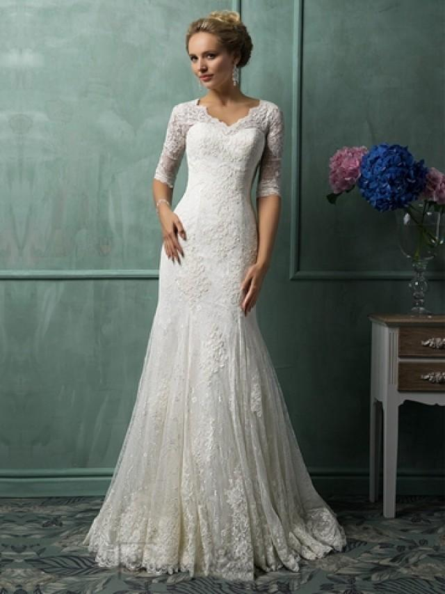 wedding photo - Half Sleeves V Neckline Lace Wedding Dresses