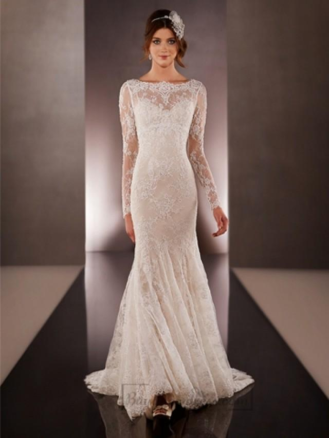 wedding photo - Illusion Long Sleeves Bateau Neckline Embroidered Wedding Dresses with Low V-back