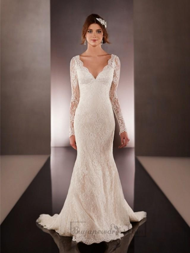 wedding photo - Long Illusion Slleeves V-neck Lace Wedding Dresses with Low V-back