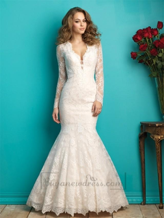 wedding photo - Long Sleeves Plunging V-neck Lace Wedding Dress with Sheer Illusion Back