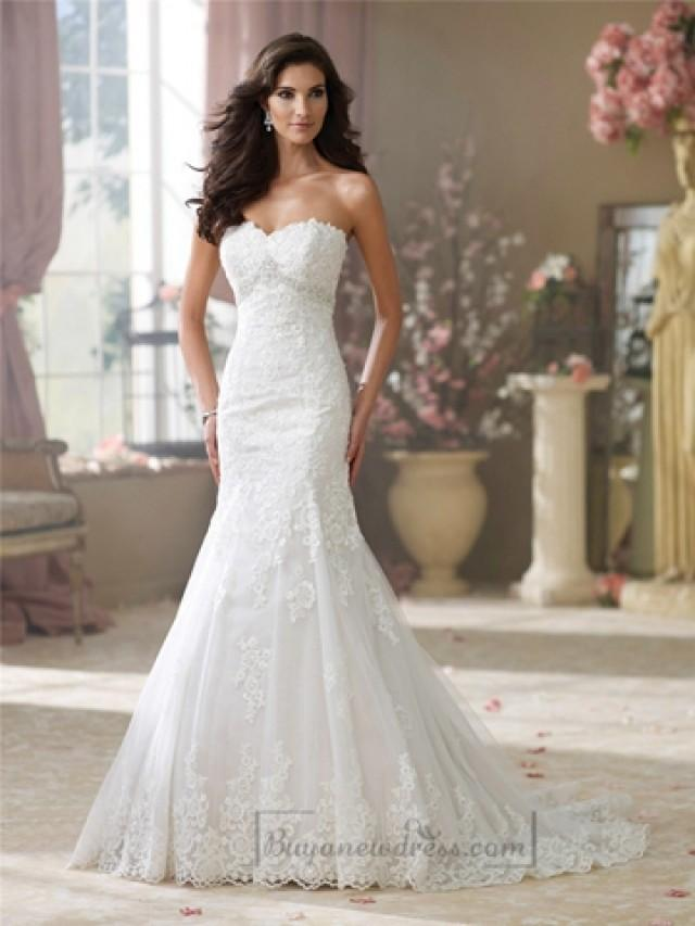 wedding photo - Luxury Strapless Curved Neckline A-line Lace Appliques Wedding Dresses