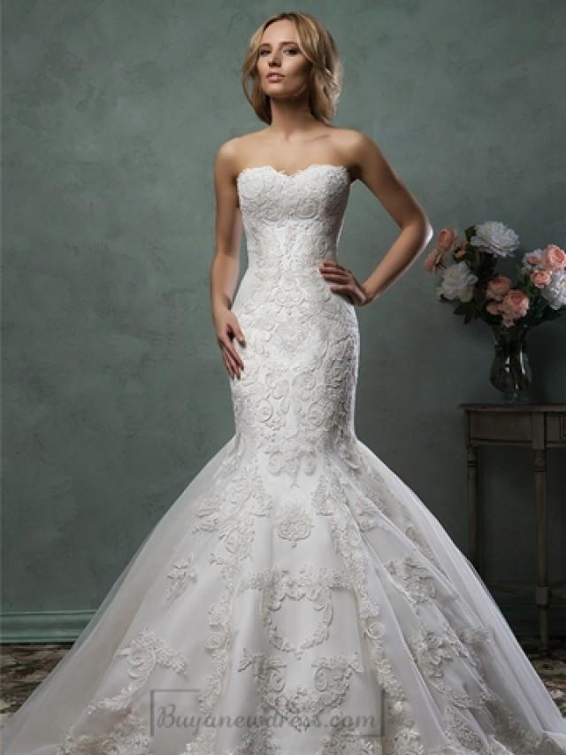 wedding photo - Scallop Sweetheart Neckline Lace Embroidery Stunning Trumpet Mermaid Wedding Dress