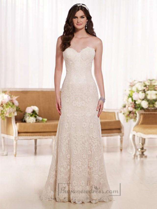 wedding photo - Scalloped Sweetheart A-line Lace Wedding Dresses