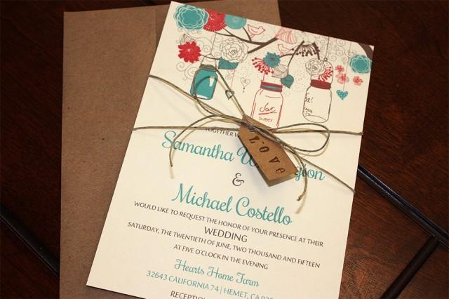 wedding photo - Mason Jar Wedding Invitation with Kraft Envelope - Rustic Wedding Invitation Love Tag Twine - Red Teal Wedding Invitation