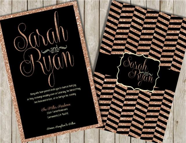 glitter wedding invitations rose gold glitter invitations With black white and rose gold wedding invitations