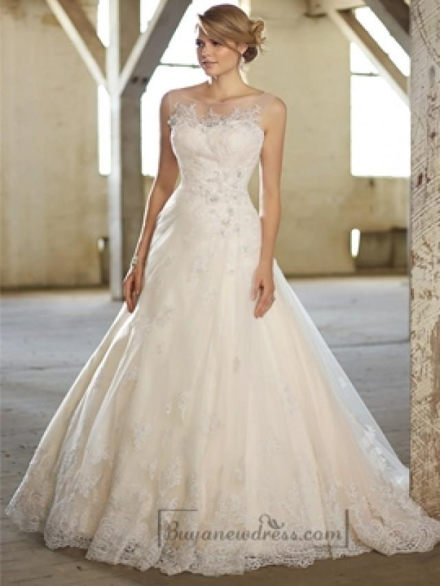 wedding photo - Stunning A-line Illusion Neckline & Back Lace Wedding Dresses