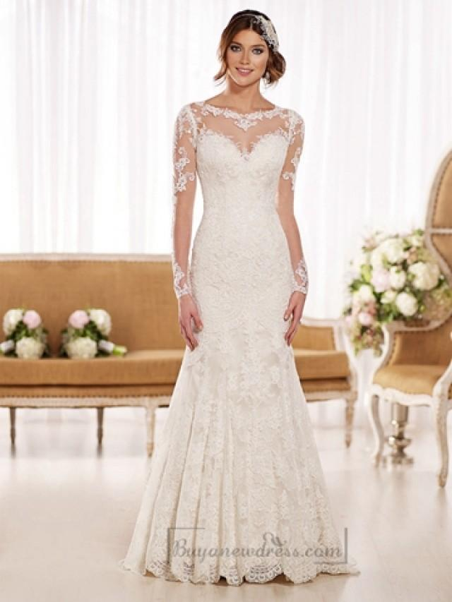 wedding photo - Timeless Vintage Lace Fit and Flare Wedding Dresses with Illusion Neckline, Back, Sleeves
