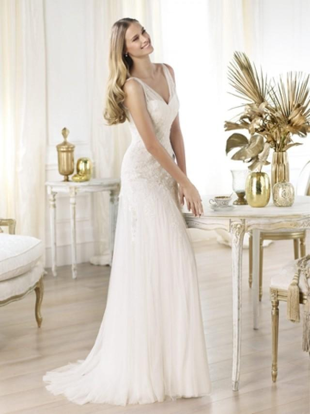 wedding photo - Elegant Semi-sheer Draped V-neck Lace Applique A-line Wedding Dress
