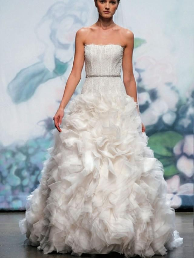 wedding photo - Luxury Silk White Strapless Fall Wedding Dress with Organza Ball Gown Skirt