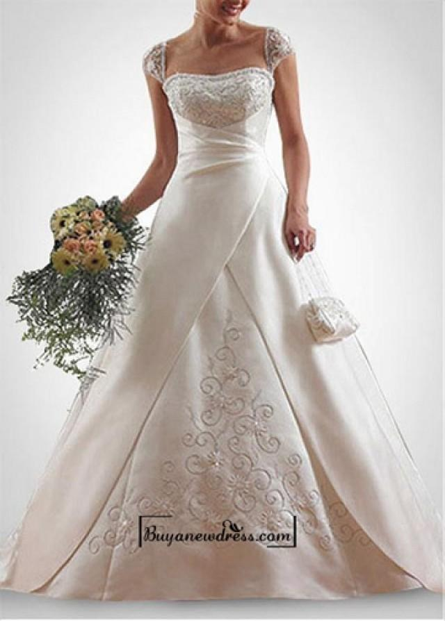 wedding photo - Beautiful Elegant Exquisite Satin A-line Wedding Dress In Great Handwork
