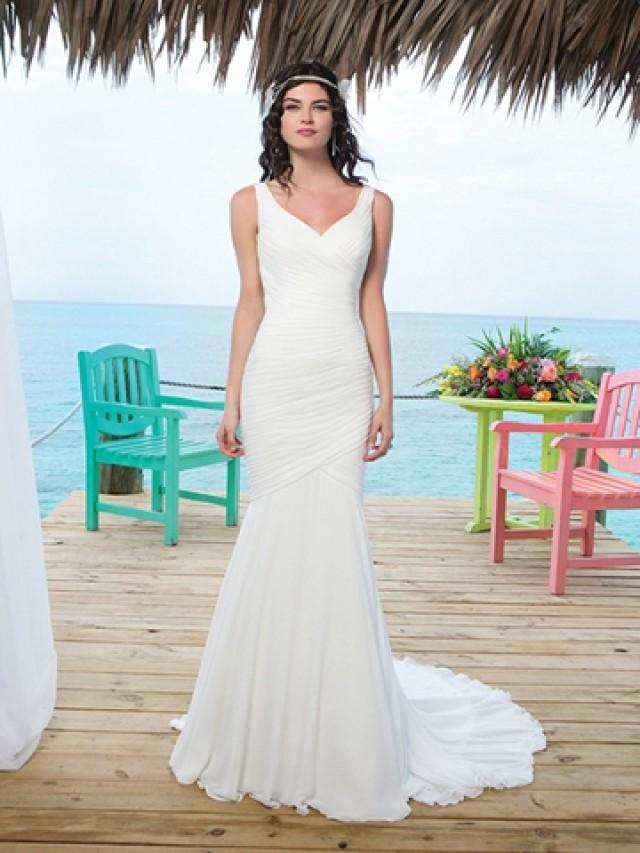 wedding photo - Chapel Length Train Chiffon Mermaid Wedding Gown With Asymmetric Embellishment Back