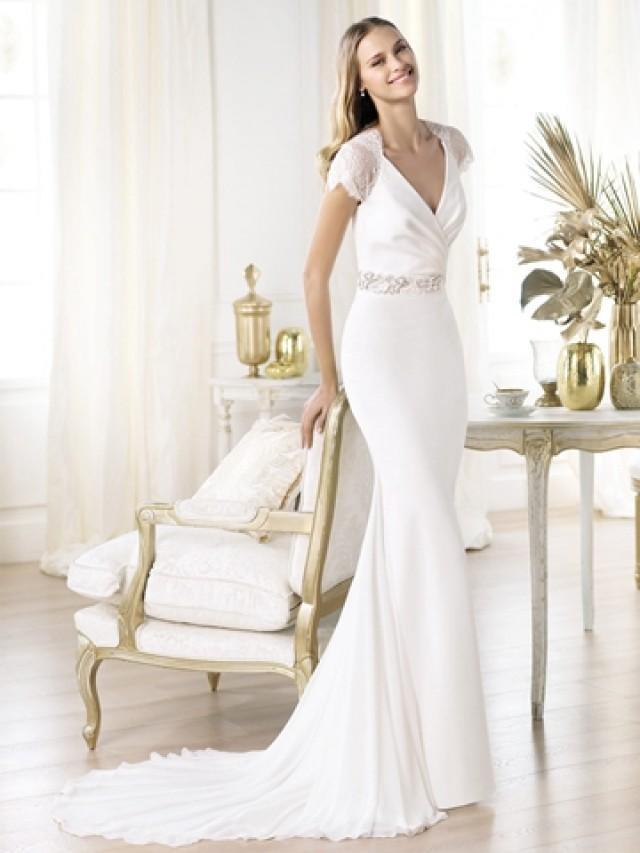 Elegant short sleeves plunging v neck mermaid illusion for T back wedding dress