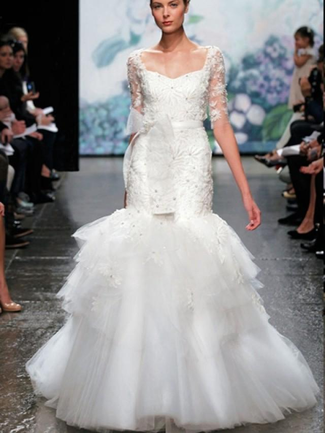 Luxury Floral Tulle Trumpet Wedding Dress With Three