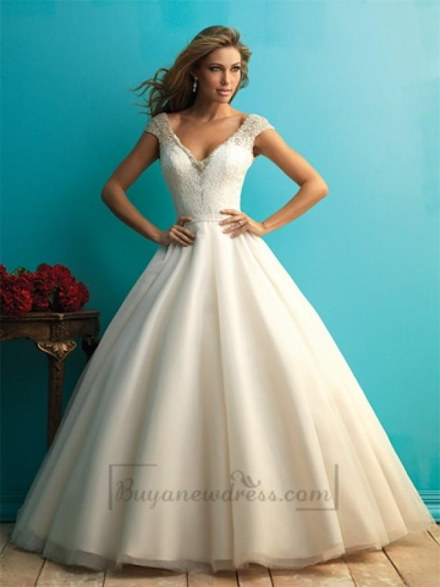 wedding photo - Beaded Cap Sleeves A-line Ball Gown Wedding Dress with Scoop Back