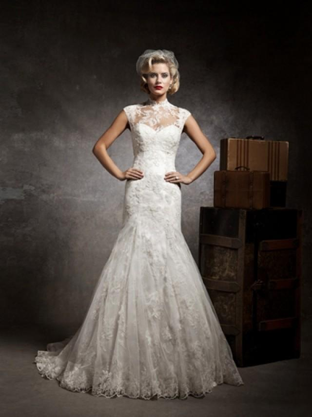 wedding photo - Strapless Sweetheart Mermaid Wedding Dress with Sleeveless Lace and Tulle Jacket