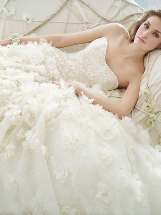 wedding photo - Chiffon and Organza Floral Embroidered Strapless Ball Gown Wedding Dress Drop Waist