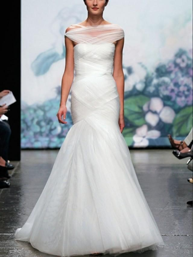 wedding photo - Luxury Silk White Trumpet Off-the-shoulder Fall Wedding Dress