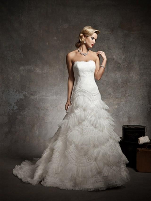 wedding photo - Strapless Lace Dropped Waist Wedding Dress with Organza Asymetrical Ruffle Skirt